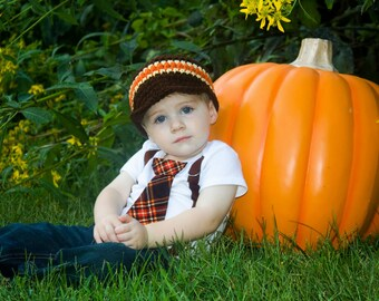 PICK YOUR SET Baby Boy Tie Bodysuit with Suspenders and Matching Hat. Thanksgiving Fall Harvest Plaid.  Fall Photo Prop, Christmas Pictures