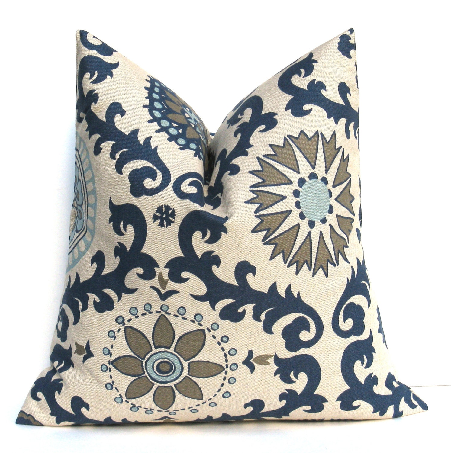 NAVY PILLOW Blue Tan Pillow Cover Decorative Pillow Covers