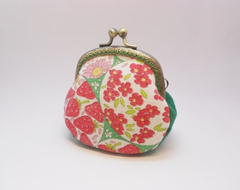 Red strawberry  flower green  change pouch/purse/wallet w bubble metal frame