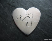 "Heart Sterling Custom Design Stamping Disc -- 1"" Puzzle Piece 3 Cut out"