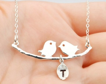 New Mom Mothers Necklace Personalized Necklace Bird Necklace Bird Jewelry, Bird Family, Initial Necklace, Mother & Child, Birds on a Branch.
