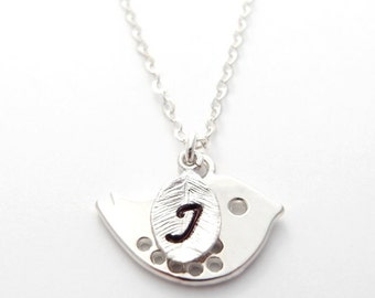 Silver Bird Necklace & Initial Leaf, Personalized Necklace, New Mom Baby Gift, Bird Jewelry, Initial Necklace, Mothers Necklace, Flower Girl