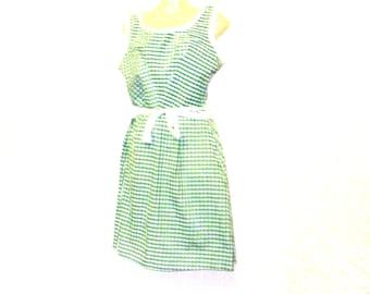 Tea Dress, Check Dress, Womens Dress, Circle Dress, Swing Dress, Size 10, Size 8, By Rebeccas Clothes