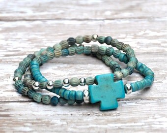 BoHo Luxe Turquoise Cross Beaded Bracelets Set of 3 by Bead Rustic Free Shipping until 2/28/2015