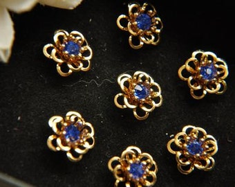 10pcs raw Brass plating gold  flower Filigree cab base with glass rhinestone Finding 11mm