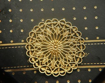10pcs raw Brass plating gold  flower Filigree cab base Connector Finding
