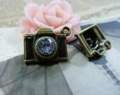 10PCS antique bronze 8x15x20mm rhinestone camera charm pendant- WC1594