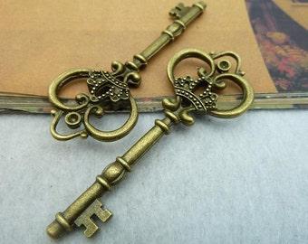 3PCS antique bronze 31x82mm carved floral key charm pendant- WC2332