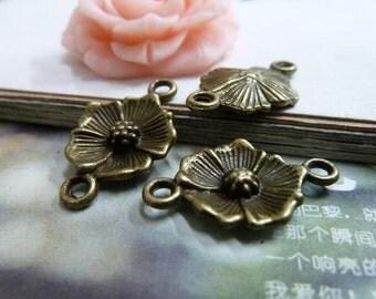 20PCS antique bronze 15x25mm flower charm connector- WC2043