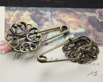 10PCS antique bronze 35mm round heart filigree blank pad base setting safety pin brooch- W05806