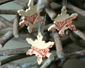 SALE Snowflake Pottery Lace Decoration White Red Ceramic Ornament Set of 3 Wedding Gift