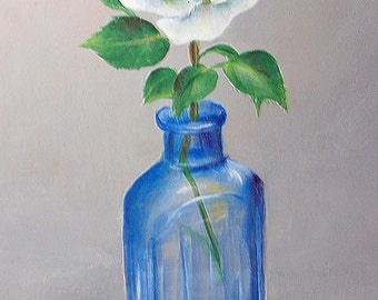 White Rose In Blue