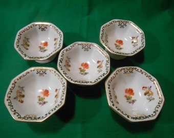 Five (5), Porcelain, Individual Open Salt Cellars, from Noritake, in the Dresdoll 4716 Pattern.