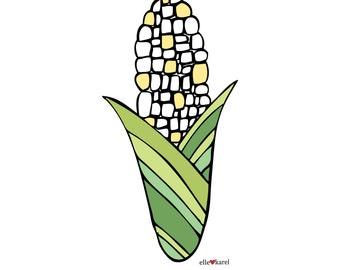 Corn - Elle Karel Original Illustration Print on 100% PC Recycled Paper Yellow Fall Harvest Green