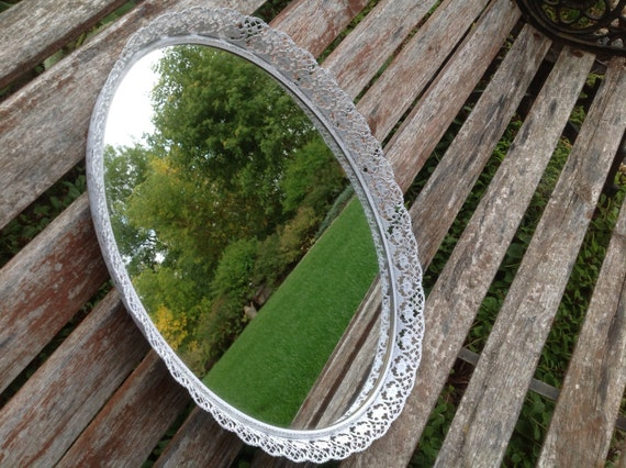 White Shabby Chic Vintage Mirrored  Oval Cosmetic Or Perfume Tray