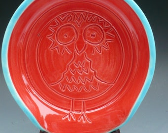 Owl spoon rest, tea steeper keeper, Made to order-custom options...Red and turquoise READY TO SHIP!