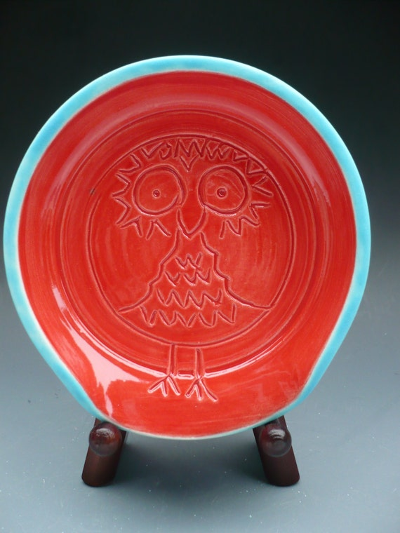 Owl spoon rest, tea steeper keeper, Made to order-custom options...Red and turquoise