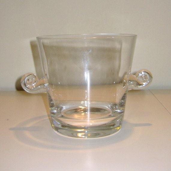 Vintage Tiffany Co Crystal Signed Scroll Handle Ice Bucket