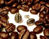 Sterling Silver Coffee Bean Stud Earrings