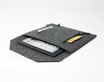 Felt Envelope Clutch Case Sleeve can hold iPad Custom Made Paper Clutch File Bag Grey E1134