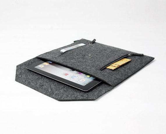Felt Envelope Clutch Case Sleeve can hold iPad Custom Made Paper Clutch File Bag Grey E1134