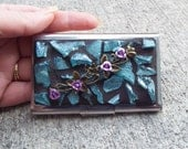 Business Card Holder, Flower Business Card Holder, Mosaic Business Card Holder,
