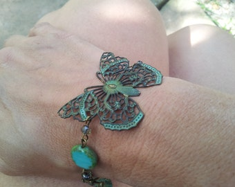 patina butterfly: bracelet, aqua, green, antiqued brass, patina, mom to be gift, turquoise, birthday jewelry, bridesmaid gift