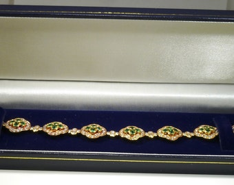 Ladies, Vintage, 18K, Yellow, Gold, Diamond, Emerald, Bracelet