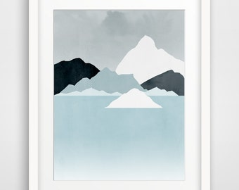 Mountains Abstract Landscape, Modern Art Print, Minimalist Poster, Wall Art, Iceberg