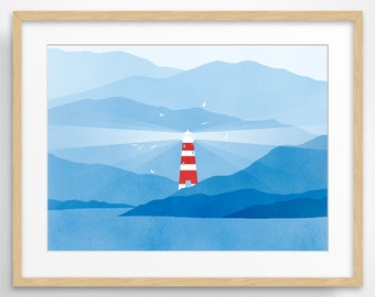 Lighthouse Large Wall Art, Nautical Decor, Modern Art, Mountains, Seascape