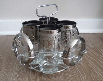 Mid Century Silver Ombre Cocktail Set with Caddy and Coasters