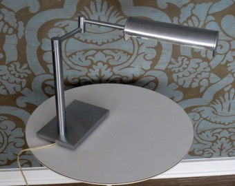 Nessen Aluminum Table Lamp with Swing Arm and Rectangular Base