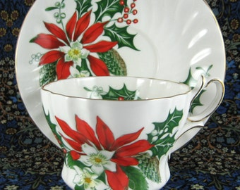 Poinsettia Noel Cup And Saucer Queen Anne Holiday Design 1950s England Christmas Tea