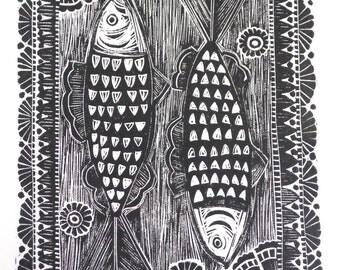 Herring fish Original Lino Print