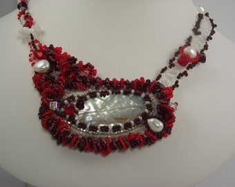 Red and White Feathers and Frills Choker