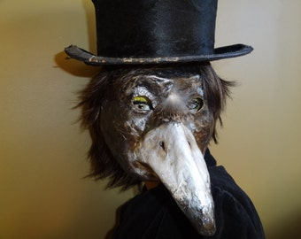 Will you Marry Me Paper mache raven mask crow mask magpies mask