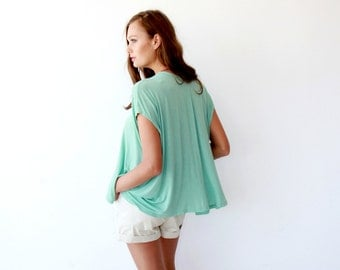 Boxy summer minty top, Mint women blouse, Short sleeves top 2003
