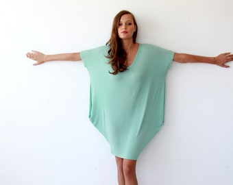 Oversize knitted mint tunic with pockets, Casual mint knit dress, Beach cover up dress 1006