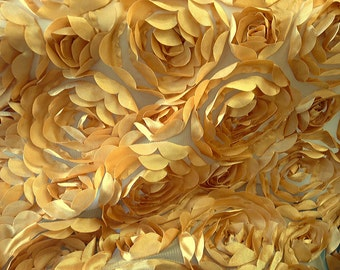 Mesh Backed Satin Petal Rosette Gold 54 Inch Fabric by the Yard, 1 yard
