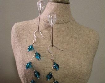 Teal 5Branch Tree Earrings