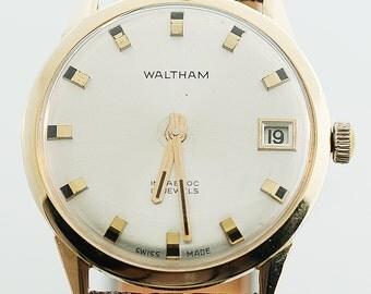 Vintage Watch - Vintage 14k Yellow Gold Mens Watham Strap Watch