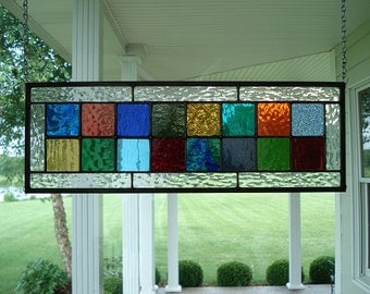 Stained Glass Panel Multi Colors Window Transom
