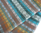 South American Fabric, Peruvian Fabric, Woven, Blue Tierra Stripes, 1 Yard