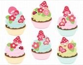 Clipart - Fairy Cupcakes - Digital Clip Art (Instant Download)