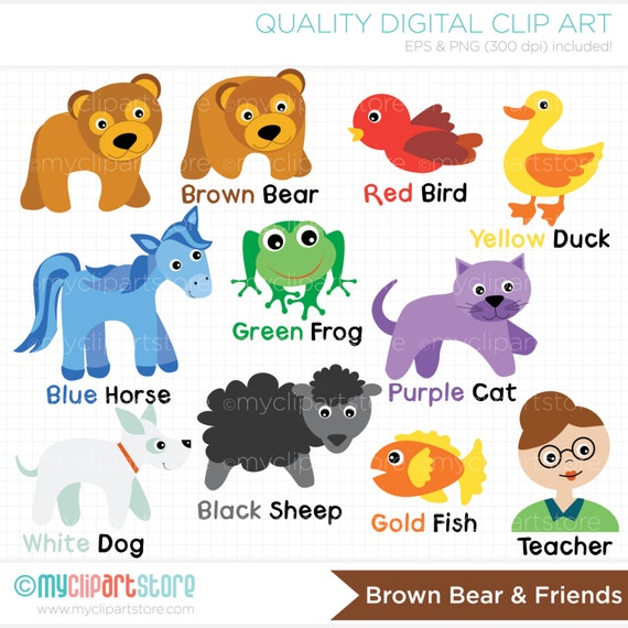 Brown Bear and Friends Clip Art / Digital Clipart Instant