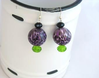 SALE, Leopard Earrings, Purple, Glass Bead, Earrings, Green
