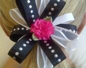 Childrens Black White Diamond Fuchsia Flower Ponytail Holder / Custom Handmade for Newborn Baby Toddler Child