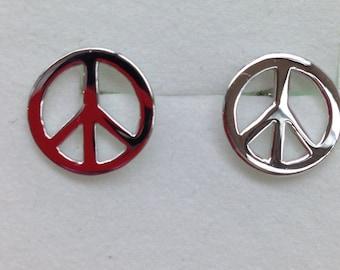 Peace Sign Earrings in Silver