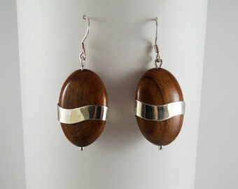 Wood and Silver Earrings  No.130905 - Carboncillo.
