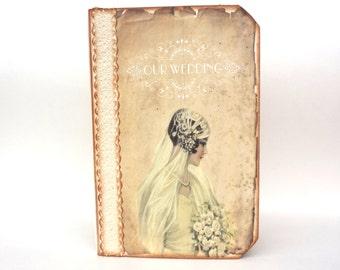 Wedding Guest Book - Wedding Memory Book, Personalizized, Wedding Journal or Wedding Planner, Victorian Bride, Bird Nest Wedding Guest Book